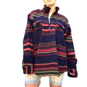 Vintage Western Color Oversized Pullover Fleece